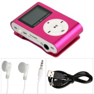 Pink Mini Clip MP3 Player Support 32GB Micro SD Card