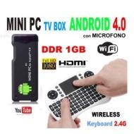 MINI PC TV NEW MK 802 S1 ANDROID 4.0 1.5GHZ CORTEX A8 DDR 1G CON MICROFONO + TASTIERA WIRELESS MWKN08 CON MOUSE INTEGRATO
