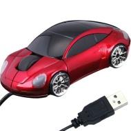 Daffodil WMS207R Mouse ottico USB a forma di auto con luci frontali e posteriori a LED. Plug and Play con rotella di scorrimento - Porsche Rossa.