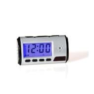 HD Digitaluhr mit Bewegungsmelder, inkl. 2 GB micro SD Karte , Schwarz Silber , 1280x720 Pixel Video, Wecker Funktion, CM3-SPY-035