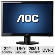 "AOC 22"" Class Widescreen LED Monitor - 1920 x 1080,16:9,16 million colors,60Hz, 20000000:1 Dynamic, 5ms, VGA, DVI-D, Energy Star - e2252Swdn e2252Swd"
