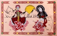 Sunshine Joy® Mexican Day of the Dead Tapestry - 60x90 Inches - Beach Sheet - Hanging Wall Art