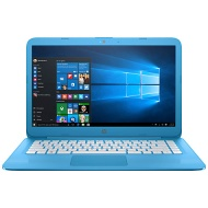 "HP Stream 14-ax000na Laptop, Intel Celeron, 4GB RAM, 32GB eMMC Flash Storage, 14"", Aqua Blue"