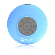 Shower Bluetooth Speaker : Stalion® Sound Waterproof Wireless Portable Audio System & Speakerphone [24-Month Warranty](Cyan Blue) Water Resistant + Su