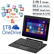 Newest Nextbook Flexx 10.1 Touchscreen Convertible Tablet Laptop With Keyboard 1 Year Office 365 1TB OneDrive (Intel Quad-Core Z3735F Processor, 2G RA