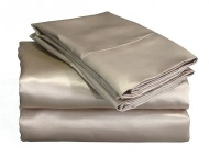 Elite Home Products Collection Silky Luxurious Woven Satin 4-Piece Sheet, Queen, Gold