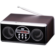August MB110 Portable Mini MP3 Hi-Fi System with FM Radio Playing Music from SD/MMC card, USB Sticks and any Audio Player with Earphone out Jack