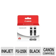 Canon PGI-225 Black Twin Pack Value Pack for PIXMA MG5120, MG5220, iP4820 Printers