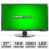 Hannspree I-Inc IL272DPB 27 Class Widescreen LED Backlit Monitor - 1920 x 1080, 16:9, 1000:1 Native, 2ms, DVI, VGA, Energy Star