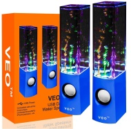 VEO Dancing Water Speakers USB Lautsprecher mit buntem Wasserspiel für PC, Mac, MP3-Playern, Smartphones, iPhone & Tablets - Blau