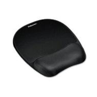 "Fellowes Memory Foam Mouse Pad/Wrist Rest- Black - TAA Compliant - 1"" x 8"" x 9.3"" - Black 9176501"