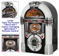 Table Top JUKEBOX - Nostalgic Retro 1950's Style (Large - 50cm tall version + 2 year guarantee) - CD Player - FM Radio, USB / SD Card (MP3 Playback),