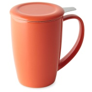 FORLIFE Curve Tall Tea Mug with Infuser and Lid 15 ounces, Carrot