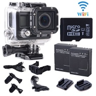 xcsource WIFI wireless Action Sport Cam Camera Waterproof Case Full HD 1080p Video Helmetcam + 2pz baitteria + 32G Micro SD Card Nero LF603