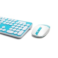 Ordel® Blue Rounded Retro Key Wireless 2.4GHz Keyboard and Mouse For Computer & Laptop
