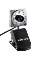 eSecure - USB 8MP 8 LED Web Cam Webcam with Microphone for Windows 7 Vista XP Laptops PCs Notebooks works with Skype, Facebook etc