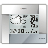 Oregon Scientific BAR386A-S Wireless Weather Forecaster with Temperature Display and Self-Setting Atomic Clock, Silver