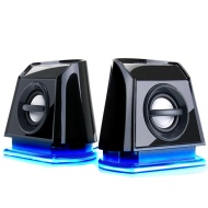 Accessory Power GOgroove BassPULSE 2MX 2.0 USB Multimedia Computer Speakers with Blue LED Lights , Dual Drivers & Passive Subwoofer - Works with PC ,