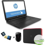 "HP 15.6"" Touchscreen Laptop PC with Quad-Core A8 Processor, 4GB Memory, 750GB Hard Drive, Windows 8.1 Bundle w/ Wireless Mouse, USB Flash, Case & 6-Mo"