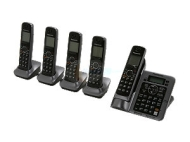 Panasonic KX-TG7645M Link-To-Cell 1.9 GHz Digital DECT 6.0 5X Handsets Cordless Phones Integrated Answering Machine