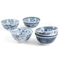 RSVP 16 Ounce Decorative Japanese Porcelain Bowls, Set of 6