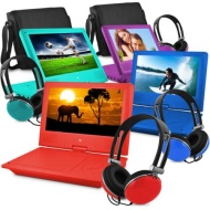 "Ematic 9"" Portable DVD Player with Color Headphones and Carrying Bag, Bundle"
