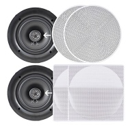 Pyle Ceiling Speakers - Stereo Home Theater Speakers - in Wall Speakers Flush Mount - 10-Inch White 300 Watt, 2-Way, square and round Covers Included