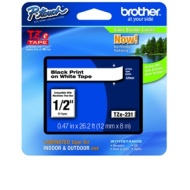 "Brother Laminated Black on White Laminated Tape 4PACK (4 X TZe-231 1/2"" - 12mm)"