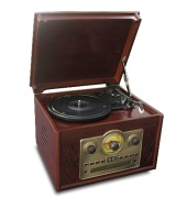 Steepletone Chichester Nostalgia Record Player with Radio, CD and Cassette Player - Dark Wood