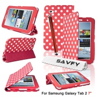 eLifeStore Étui de protection en cuir plus élégant support mobile à pois pour Samsung Galaxy Tab 2 7.0 (P3100 P3110) Bonus : film protecteur + stylet