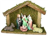 Nativity Set with Creche and 6 Piece Ceramic Figurine Set
