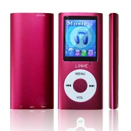 Lonve 1.8 inch Screen MP4 Player MP3 Player Built-in 8GB Flash Memory Card MP4 Music/Audio/Media Player FM Radio-Red