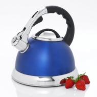 Creative Home 77034 Camille Stainless Steel Whistling Tea Kettle, 3-Quart, Opaque Blue