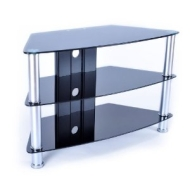 """Duronic TVS49A1 Contemporary Design Black Plasma/LCD/LED/3D Glass 32"""" TV Stand - Upto 37-inch - Upto 42"""" with overhang"""