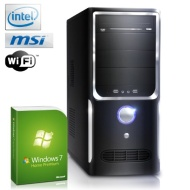 Silent office PC! CSL Speed A26017uH (Dual) incl. Windows 7 - computer system with Intel Celeron 2x 2600 MHz, 300GB, 4GB DDR3 RAM, MSI Mainboard, WLAN