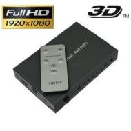 Premium HDMI Switch 4x1 3D Umschalter Verteiler 4 zu 1 + Fernbedienung + SPDIF/ Toslink und 3,5mm Klinke Audio Ausgang + HDMI HighSpeed, HDCP, 1080p,