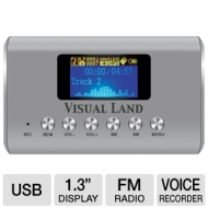Visual Land ME-909-PRP Mini MP3 Boombox Speaker for MicroSD/SD/USB Flash/Line In & Out/FM Radio (Purple)