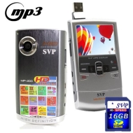 SVP MP300 HD MP3 Player and Pocket HD Video Red Camera, YouTube Software w 2GB SD