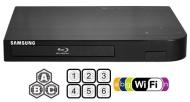 """SAMSUNG BDF-5700 (Compact 12W"""" x 2H"""" x 8D"""") WI-FI All Zone Multi Region DVD Blu ray Player - 100~240V 50/60Hz, 1 USB, 1 HDMI, 1 COAX, 1 ETHERNET + 6 F"""