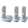 Panasonic KX TG6323PK - Cordless phone w/ call waiting caller ID & answering system - DECT 6.0 - pearly silver + 2 additional handset(s)