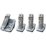 Panasonic KX-TG3034SK Silver Telephone 2.4GHz Digital Cordless Answering System with 4 Handsets