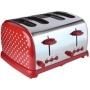 Kitchen Originals Red Dotty 4 Slice Stainless Steel Toaster
