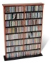 PREPAC - Double-Width Library-Style Media Shelf - Cherry and black CMA-0640
